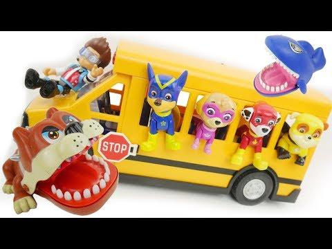 paw patrol play dog game in school bus