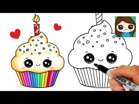 How To Draw A Birthday Cupcake Easy Luchshie Prikoly Samoe