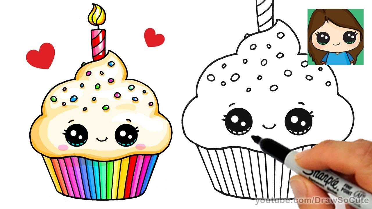 How To Draw A Birthday Cupcake Easy Youtube