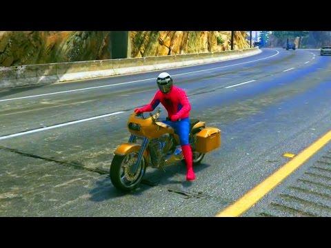 Спайдермен Человек-Паук Катается на Мотоцикле Spider-Man Ride a Motorcycle