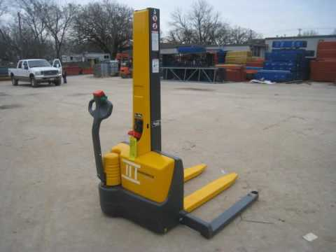 Electric pallet stacker trucks for pedestrian youtube for Motorized pallet jack rental