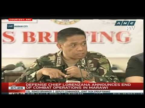 Defense Sec. Delfin Lorenzana announces the end of combat operations in Marawi  (Video Feed Courtes
