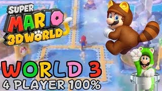 Super Mario 3D World - World 3 (4-Player 100% walkthrough)