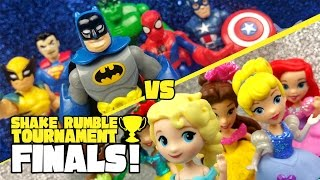 Superheroes (Avengers & Justice League) vs Disney Princesses Toys Shake Rumble FINALS #7 | KIDCITY