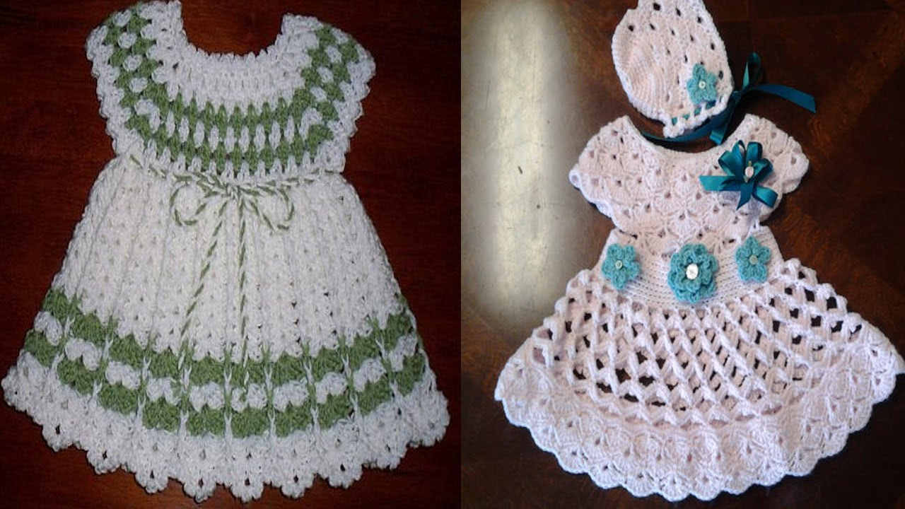 cc8348928 Vestidos para bebe tejidos a crochet o ganchillo Parte 5 - YouTube