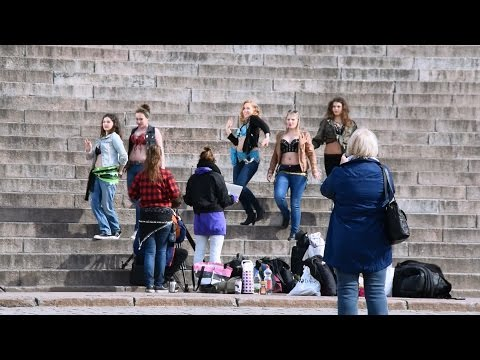 Helsinki Senate Square & Lutheran Cathedral Finnish Girls Doing Hindu Many Arms Indian Dance Pose