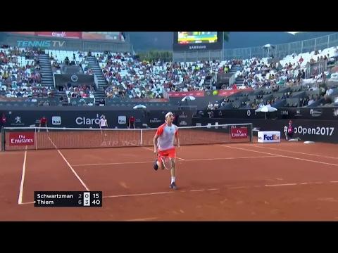 Dominic Thiem amazing tweener / hot dog shot | Rio Open 2017 Quarter-Final