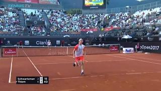 Dominic Thiem amazing tweener / hot dog shot at 2017 ATP Rio Open
