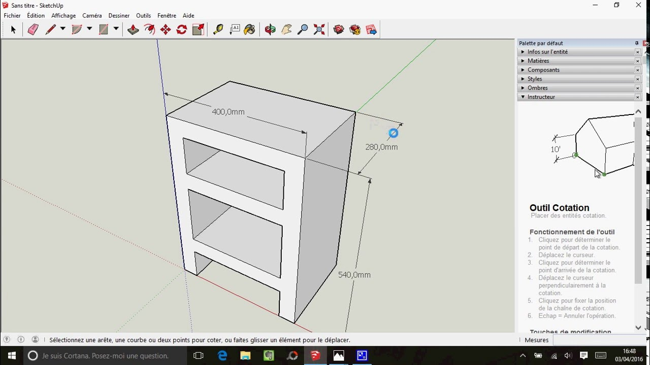tuto sketchup dessin d 39 une table de chevet en carton. Black Bedroom Furniture Sets. Home Design Ideas