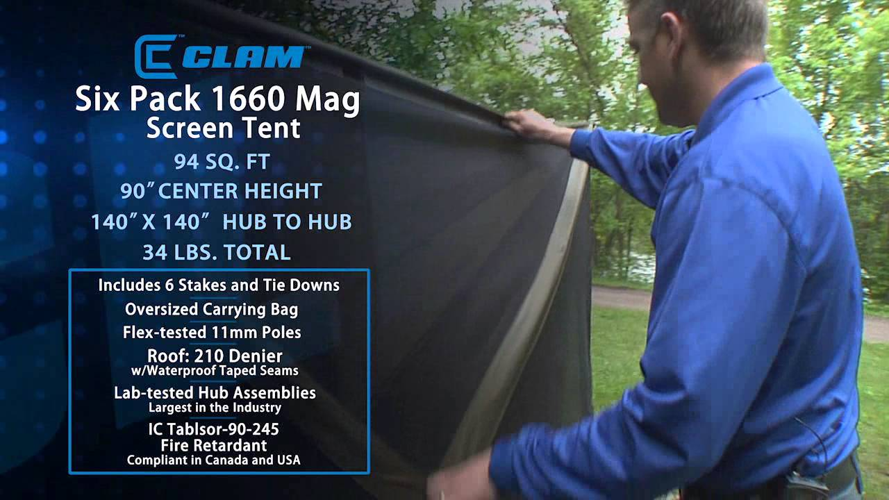 & Clam Six Pack 1660 Mag Screen Tent Demo - YouTube