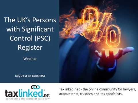 Taxlinked's UK Persons with Significant Control (PSC) Register Webinar