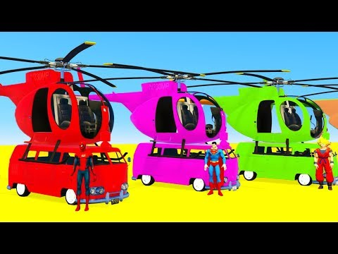 Thumbnail: LEARN COLORS w Helicopters on BUS - Superheroes Cartoon for Kids & Spiderman for Children
