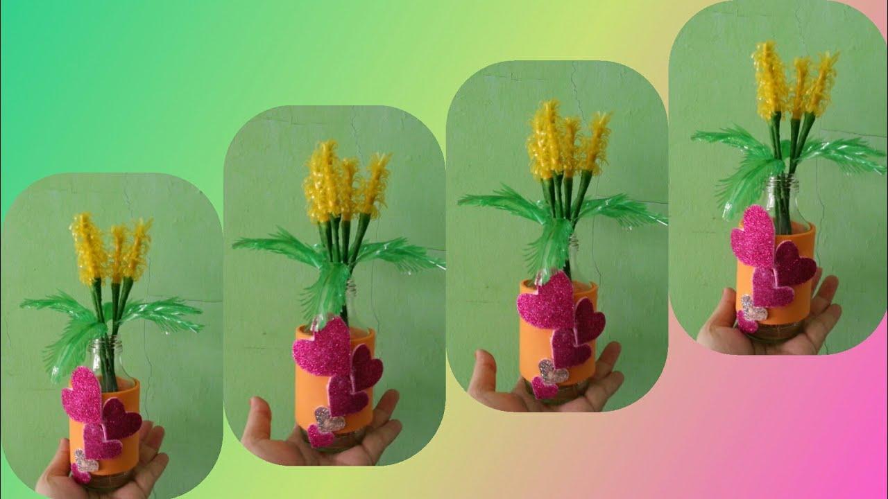 Cara membuat bunga dari sedotan dan vas dari botol bekas #DIY #IDEKREATIF # - YouTube