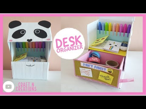 DESKTOP ORGANIZER from Cardboard - Back to School Panda DIY