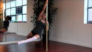 Pole Dance Lesson:  Spin Combo - Reverse Attitude to Front Hook