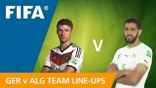 Germany v. Algeria - Team Line-ups EXCLUSIVE(Line-ups, substitutes and formations for Germany v. Algeria in the Round of 16 on 30 June at the 2014 FIFA World Cup™. FULL MATCH DETAILS: ..., 2014-06-30T19:21:30.000Z)