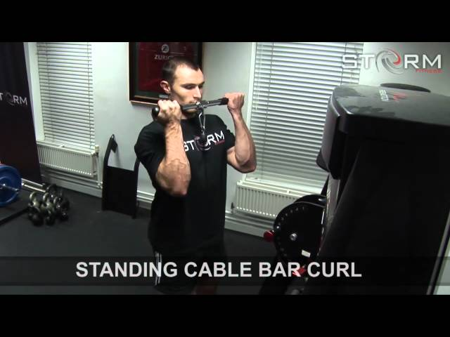 06 Standing cable bar curl