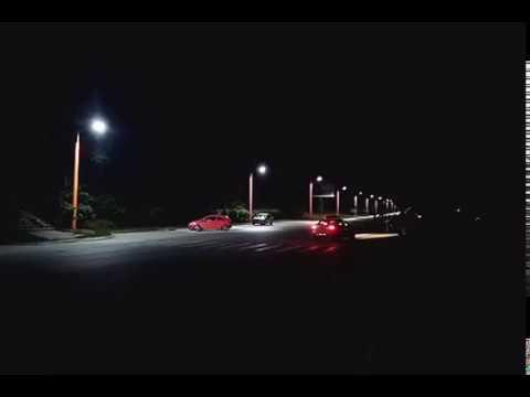 Светящиеся опоры в Академгородке (Новосибирск)