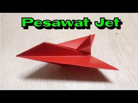 cara membuat origami pesawat jet