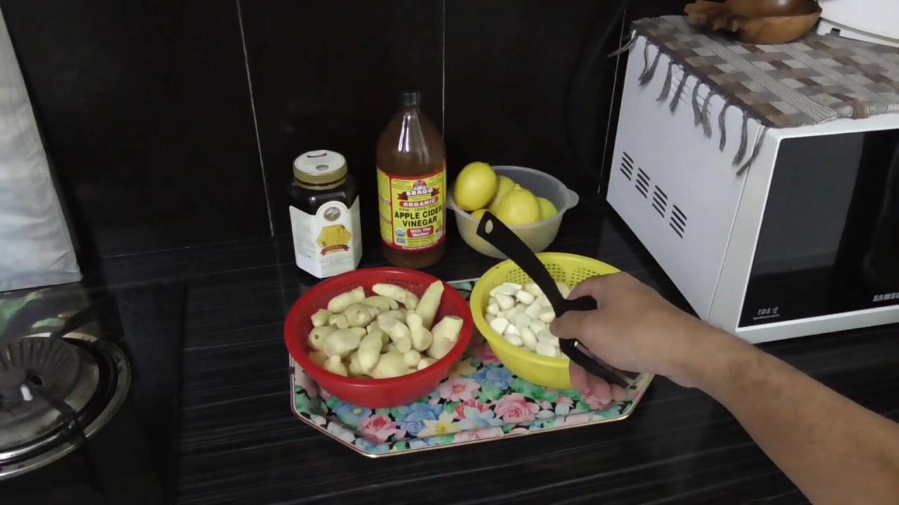 Garlic, Ginger, Lemon, Apple Cider Vinegar potion (Version