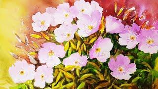 달맞이꽃 수채화 / 수채화 꽃그림 / 낮달맞이꽃 그리기…