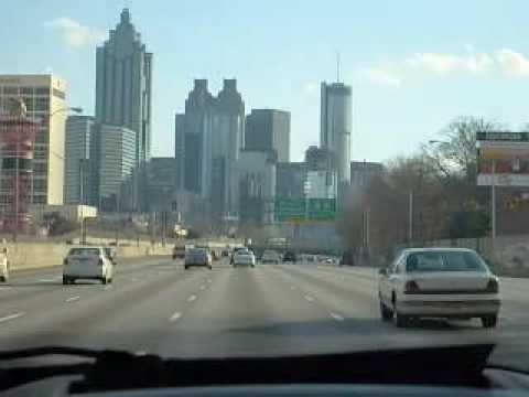Driving on the Downtown Connector through Atlanta