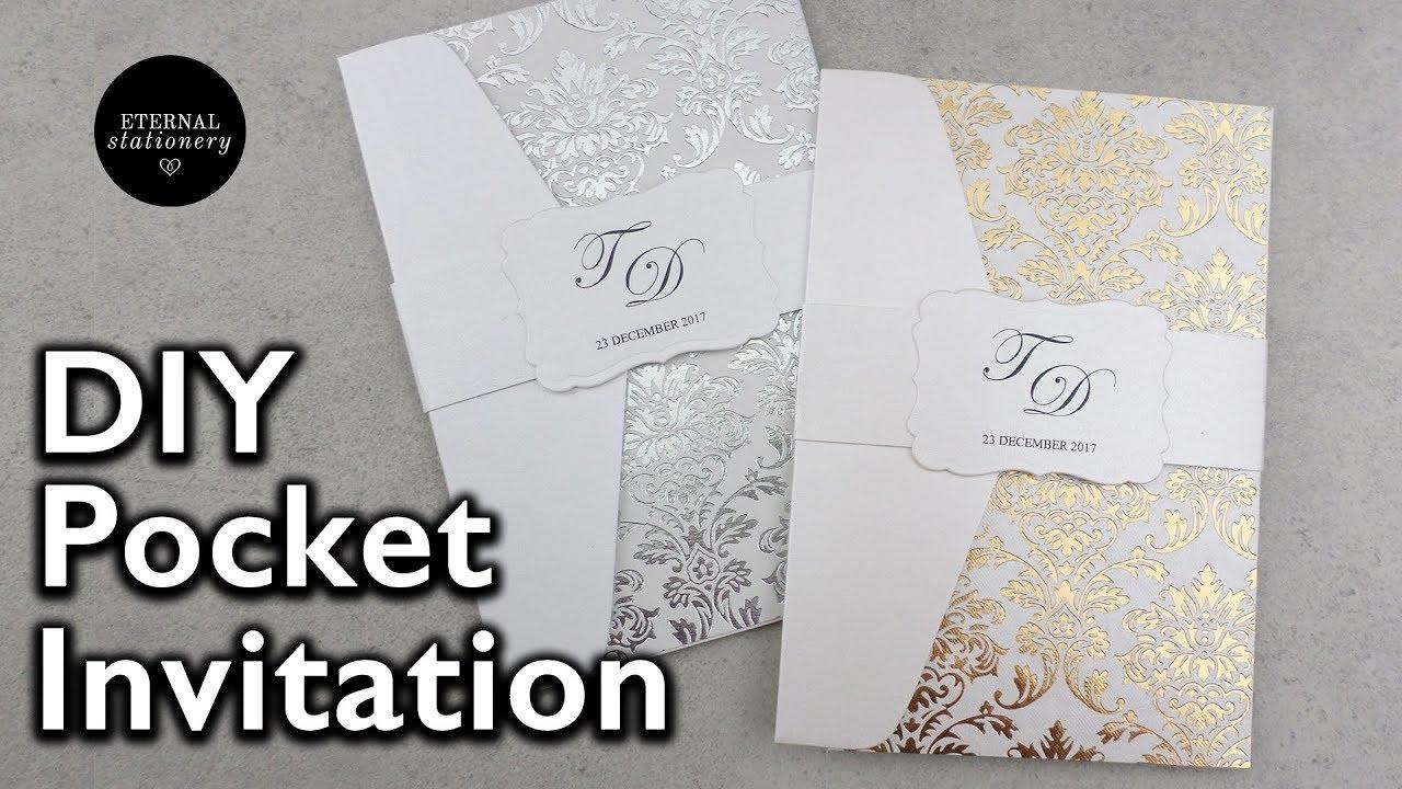 easy gold foil pocket invitation with pre foiled paper diy wedding