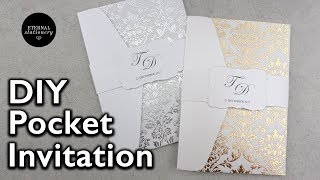 Easy gold foil pocket invitation with pre foiled paper | DIY wedding invitations
