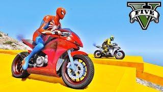 MOTOS na Rampa com Homem Aranha e Heróis! Desafio Saltos com Paraquedas - GTA V Mods - IR GAMES