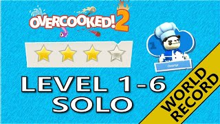 Overcooked 2 – Level 1-6 - 4-Stars World record! -  1 Player - Score: 1508