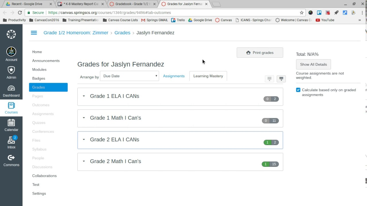 Learning Mastery Gradebook in Canvas