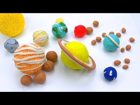 Как сделать Планеты Солнечной системы и их спутники из пластилина Плей До и Шарикового пластилина