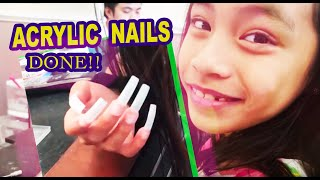 9 YEAR OLD GETS ACRYLIC NAILS FOR THE FIRST TIME!!! | Victori Acedera