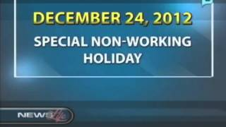 December 24 declared as special non working holiday