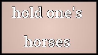 Hold one's horses Meaning
