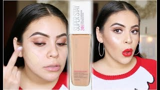 NEW MAYBELLINE 24HR SUPERSTAY FULL COVERAGE FOUNDATION: WEAR TEST REVIEW | JuicyJas