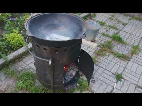Печь для казана своими руками из газового баллона видео под дрова
