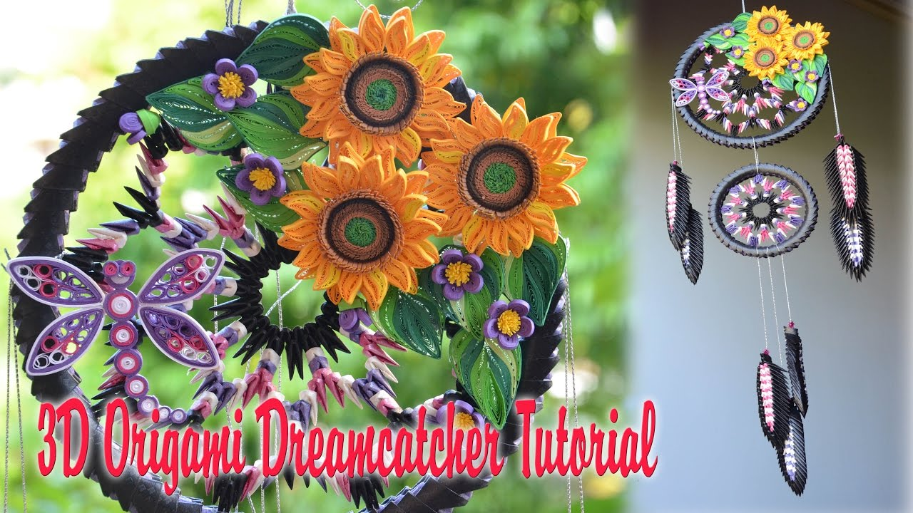 How To Make 3d Origami Dreamcatcher Diy Home Decoration Paper