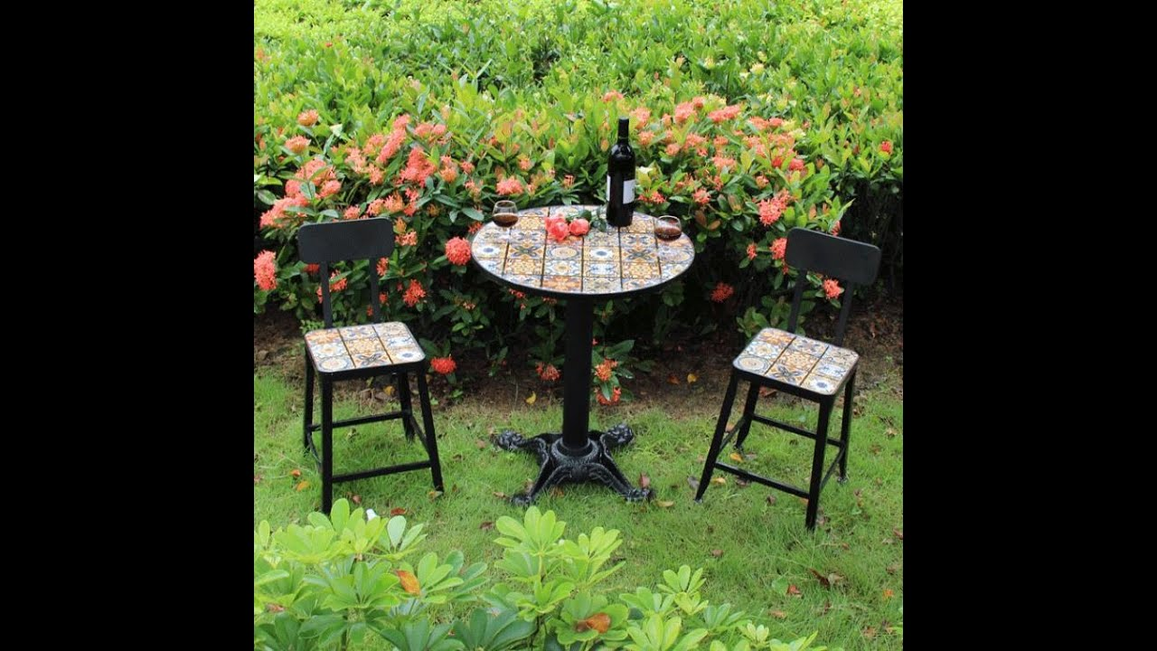 Wrought iron mosaic balcony able and chair outdoor leisure ... on Outdoor Living Iron Mosaic id=63095