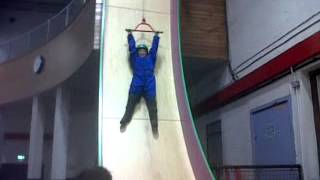 Leah on clip n climb freefall slide in dundonald ice bowl May 2013