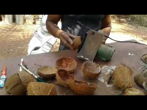 Making of decorative item from coconut shell