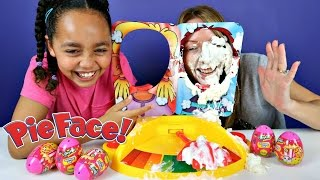 NEW PIE FACE SHOWDOWN CHALLENGE! Family Fun Game - Shopkins Surprise Eggs Opening