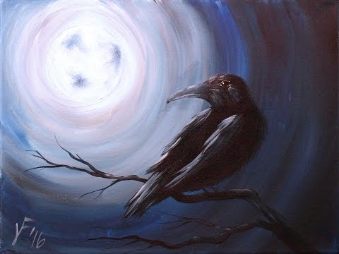Midnight Raven 2016 Step by Step Acrylic Painting on Canvas for Beginners