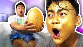 DIY GIANT GOLDEN GLITTER EGG BATH BOMB!