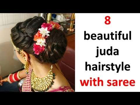 8 super and unique juda hairstyles with saree    easy hairstyles    updo hairstyles    new hairstyle thumbnail