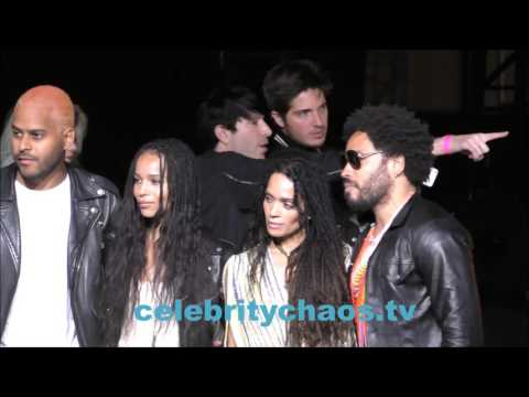 Lenny Kravitz with Zoey Kravitz and Lisa Bonet in Hollywood