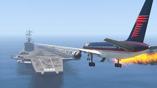 Trump's 757 Emergency Landing On Aircraft Carrier | GTA 5