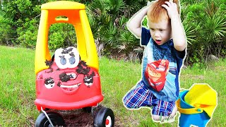 Makar playing car wash with cleaning toys | Little Tikes Cozy Stuck in the Mud