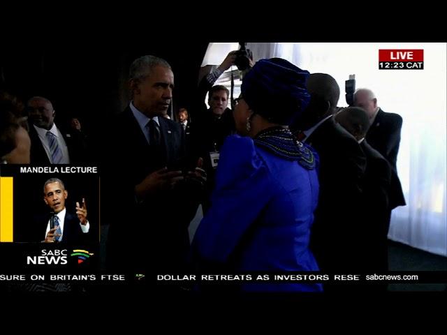 Former United States President Barack Obama arrives at the Bidvest Wanderers Stadium.