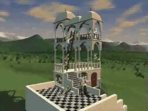 """M. C. Escher - """"Belvedere"""" Building Animation"""